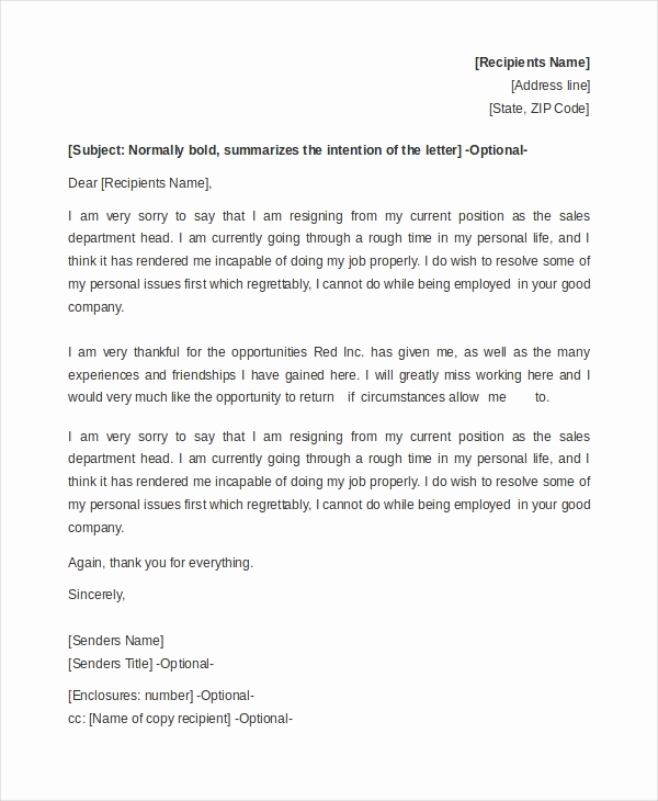 Resignation Letter Personal Reasons Beautiful Sample Resignation Letter Example 8 Free Documents In Doc
