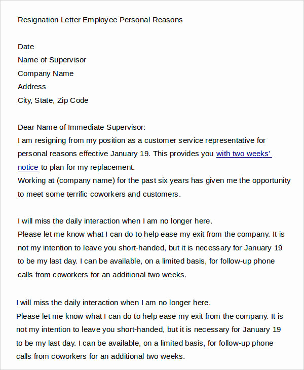 Resignation Letter Personal Reasons Luxury 5 Sample Personal Resignation Letters Free Sample