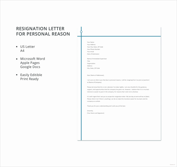 Resignation Letter Personal Reasons Luxury Resignation Letter with Reason Template 10 Free Word