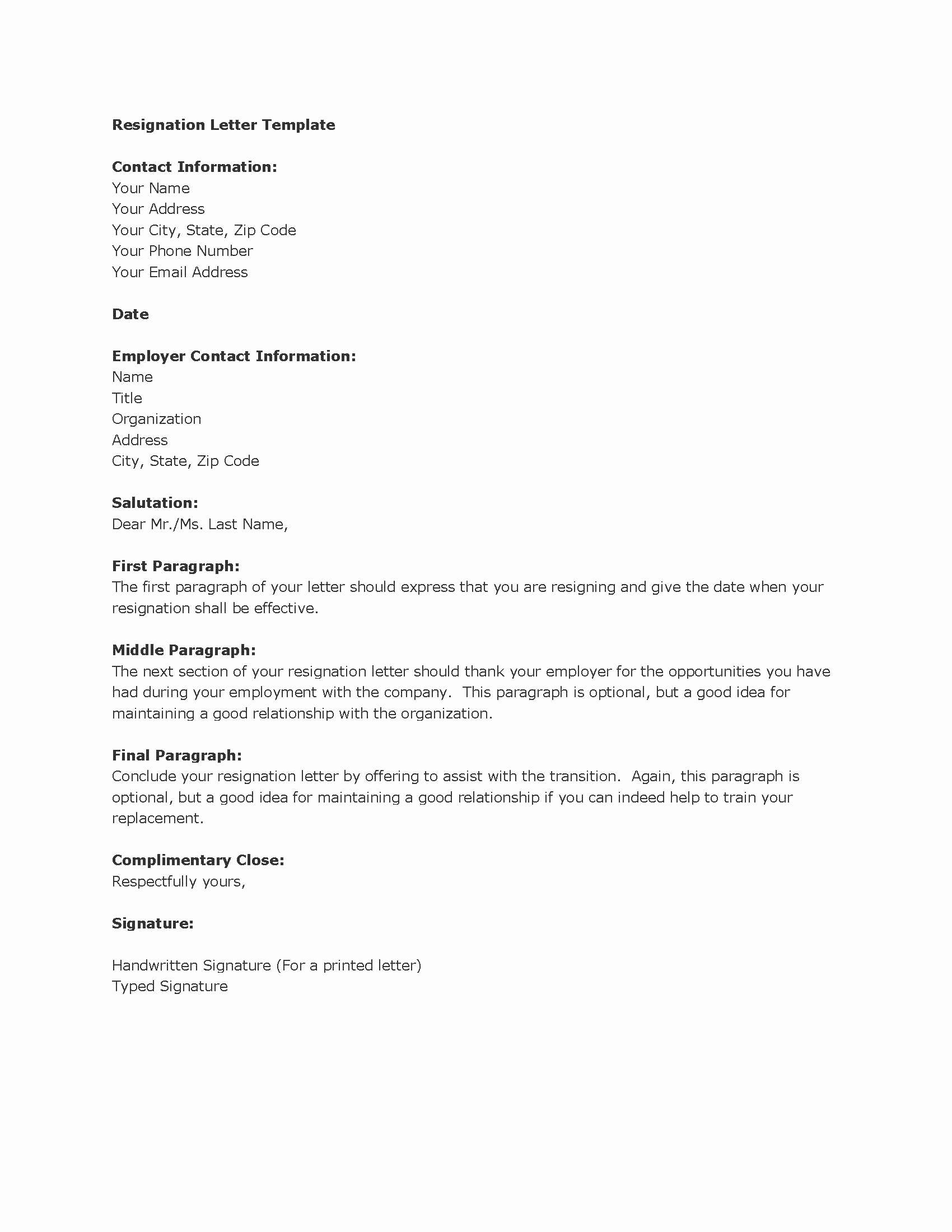 Resignation Letter Template Free Fresh Job Resignation Letter Sample Template