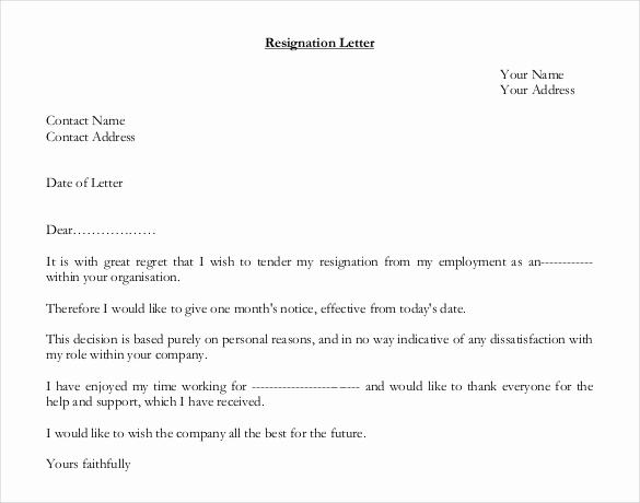 Resignation Letter Template Free New How to Write A Letter Of Resignation Uk