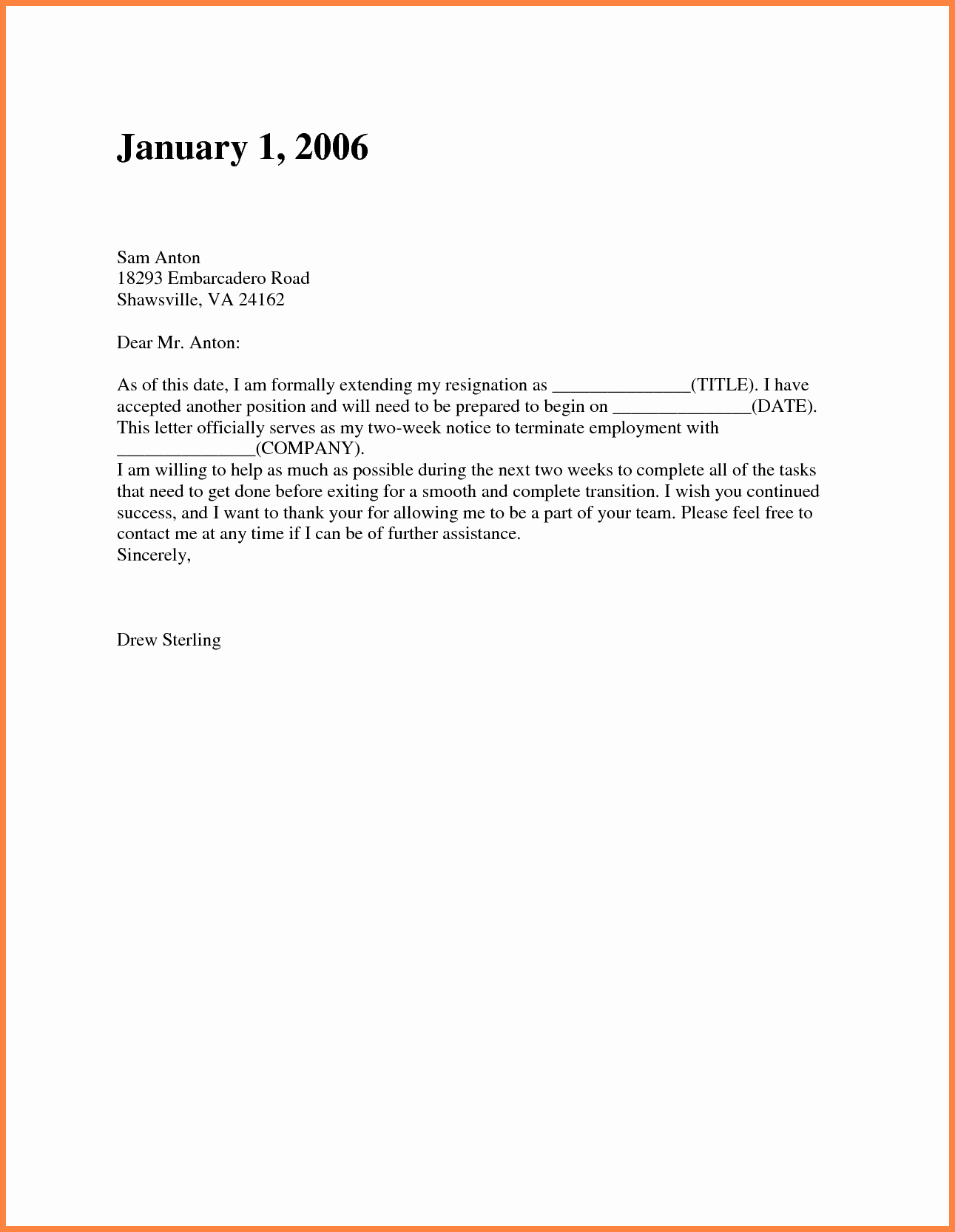 Resignation Letter Two Weeks Notice Awesome 8 Short Resignation Letter Weeks Notice