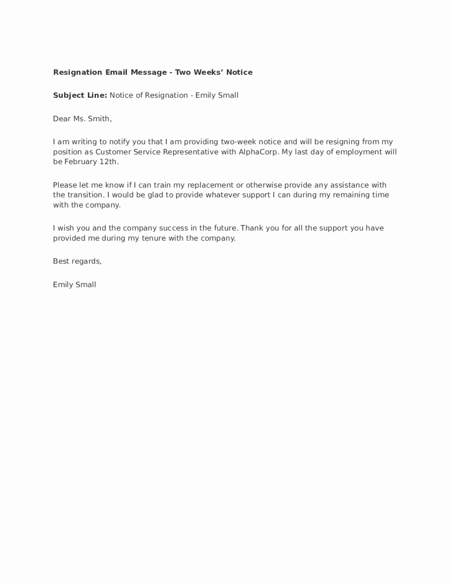 Resignation Letter Two Weeks Notice Elegant 2019 Two Weeks Notice Fillable Printable Pdf & forms