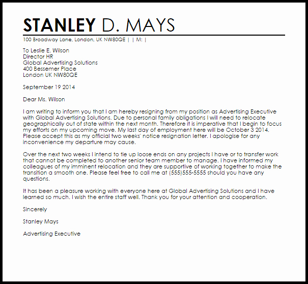 Resignation Letter Two Weeks Notice Lovely Two Weeks Notice Resignation Letter Example
