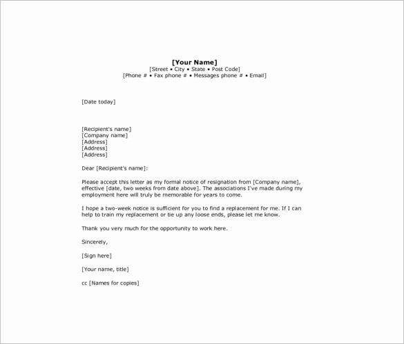 Resignation Letter Two Weeks Notice Unique 10 Sample Two Week Notice Resignation Letter Templates