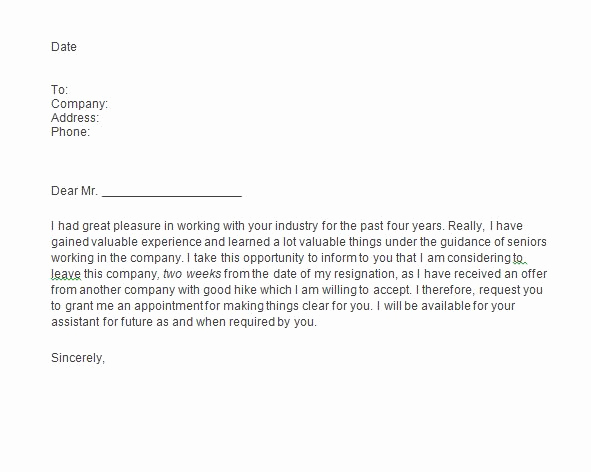 Resignation Letter Two Weeks Notice Unique 40 Two Weeks Notice Letters & Resignation Letter Templates
