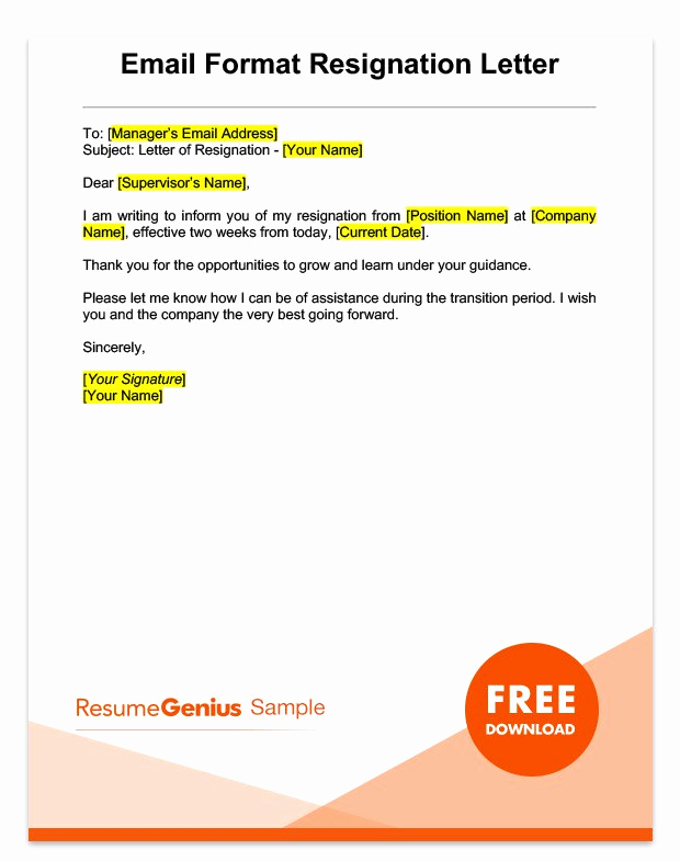 Resignation Letter Two Weeks Notice Unique Two Weeks Notice Letter Sample Free Download