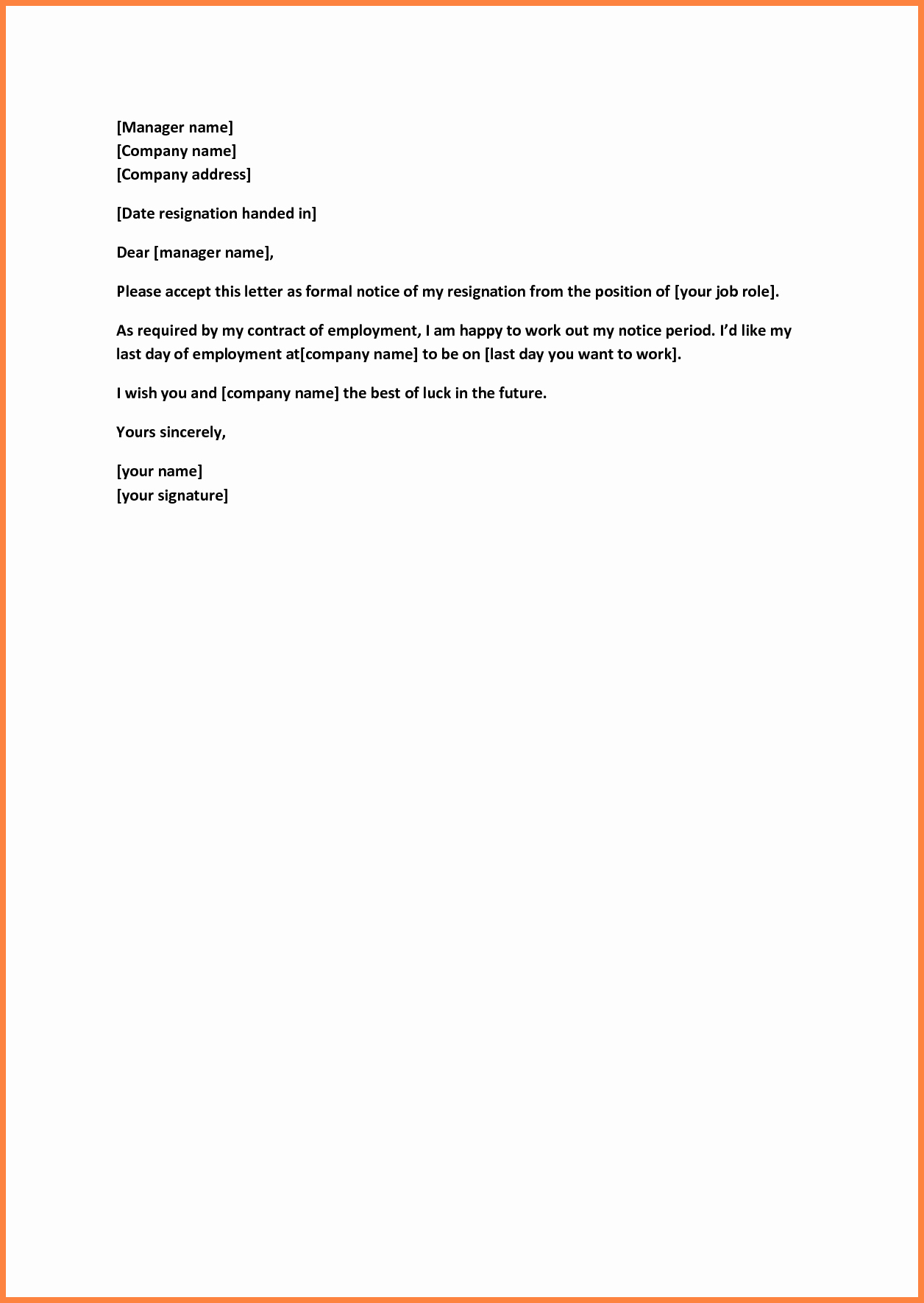 Resignation Letters Short Notice Awesome 8 Short Resignation Letter Weeks Notice