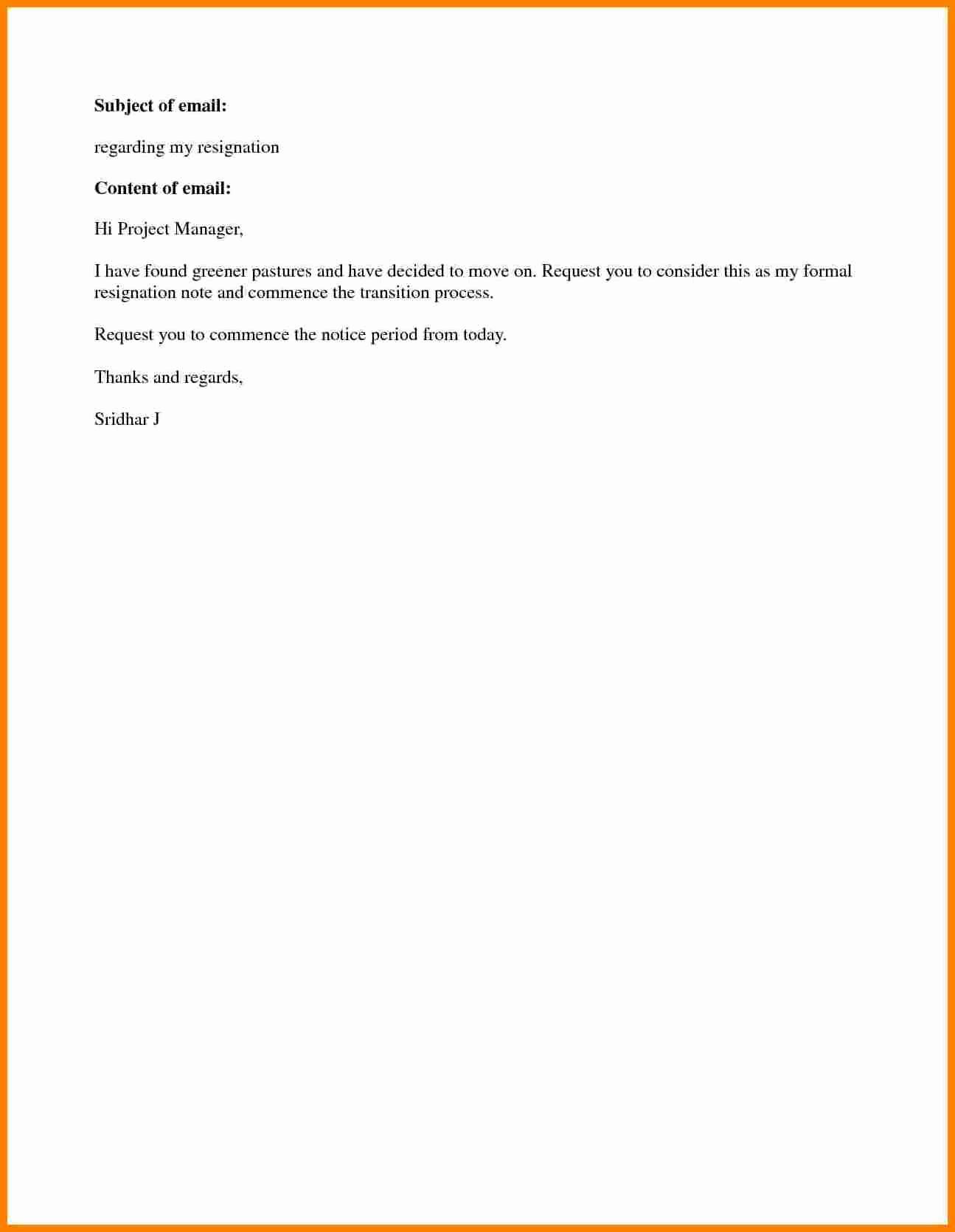 Resignation Letters Short Notice Beautiful 5 Sample Resignation Letter Short Notice