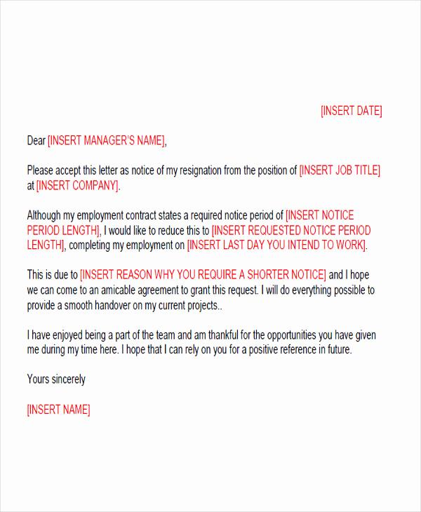 Resignation Letters Short Notice Beautiful 65 Sample Resignation Letters