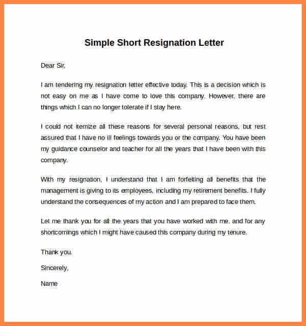 Resignation Letters Short Notice Beautiful 7 Short Notice Resignation Letter Sample
