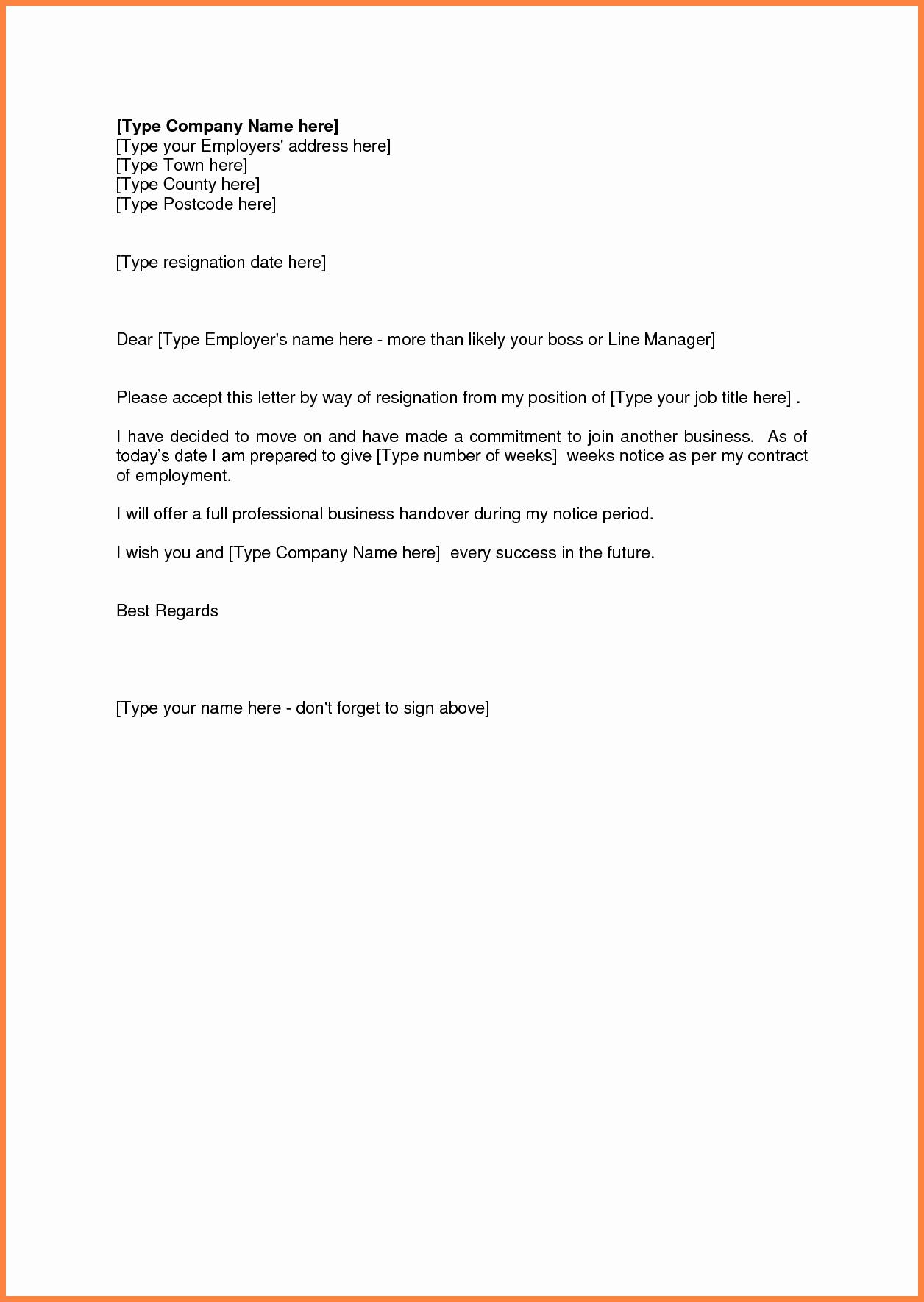 Resignation Letters Short Notice Beautiful 8 Short Resignation Letter Weeks Notice