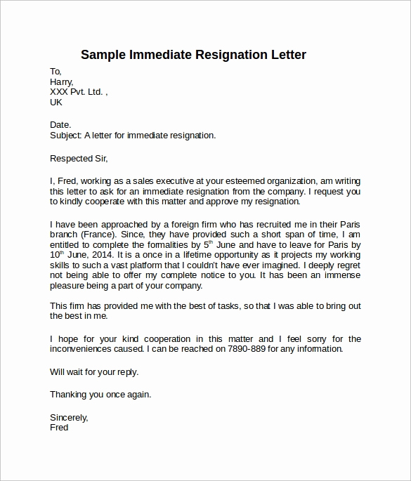 resignation letter short notice