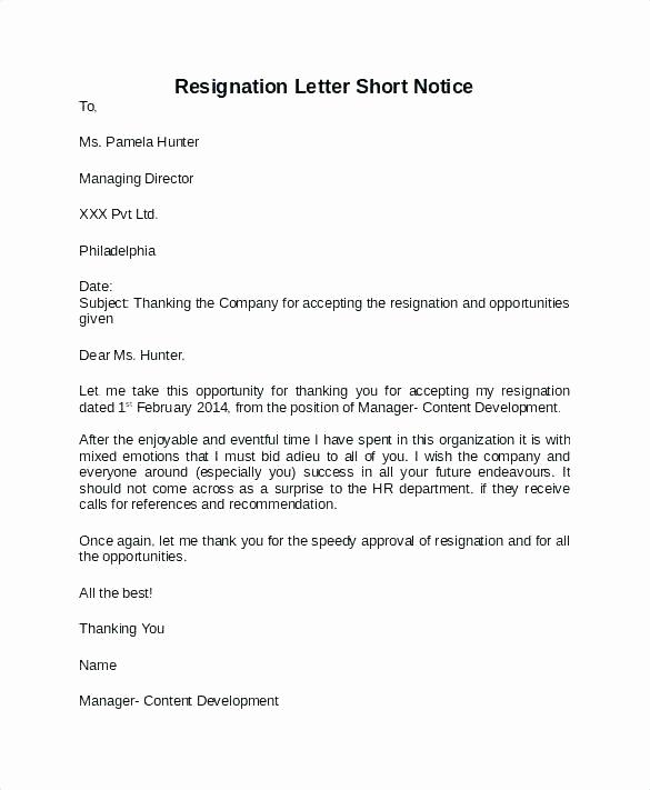 Resignation Letters Short Notice Elegant Leaving Notice Template – Jdshort