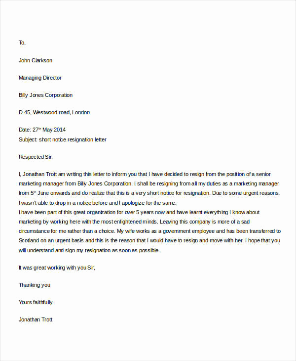 Resignation Letters Short Notice New 31 formal Resignation Letters