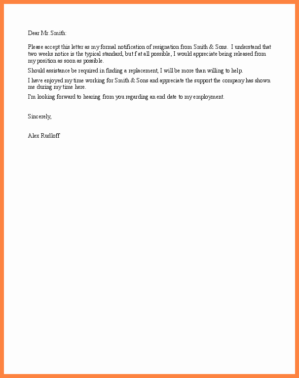 Resignation Letters Short Notice New 8 Example Of Resignation Letter Short Notice