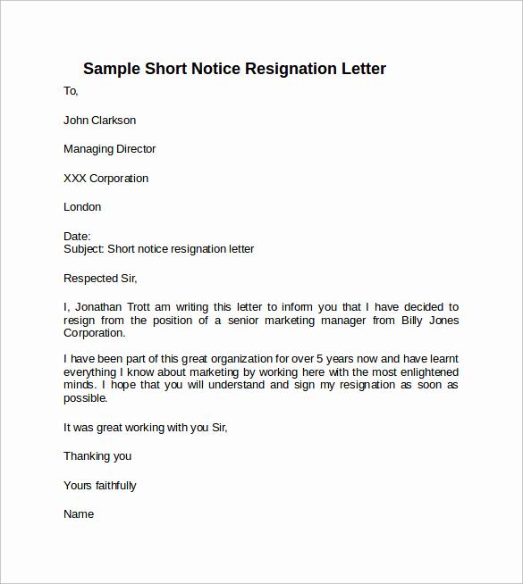 Resignation Letters Short Notice Unique Sample Resignation Letter Short Notice 6 Free Documents