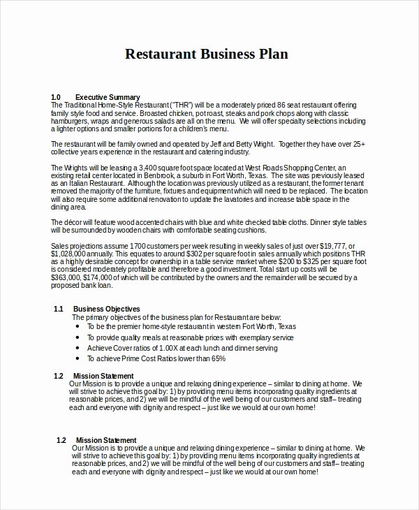 Restaurant Business Plan Sample Awesome 25 Business Plans Free Sample Example format