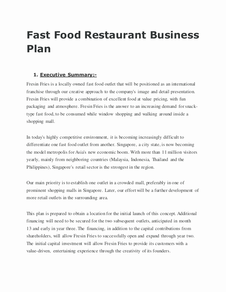 Restaurant Business Plan Sample Beautiful Fast Food Restaurant Business Plan