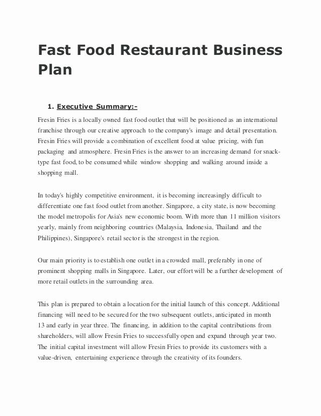Restaurant Business Plan Sample Fresh Fast Food Restaurant Business Plan