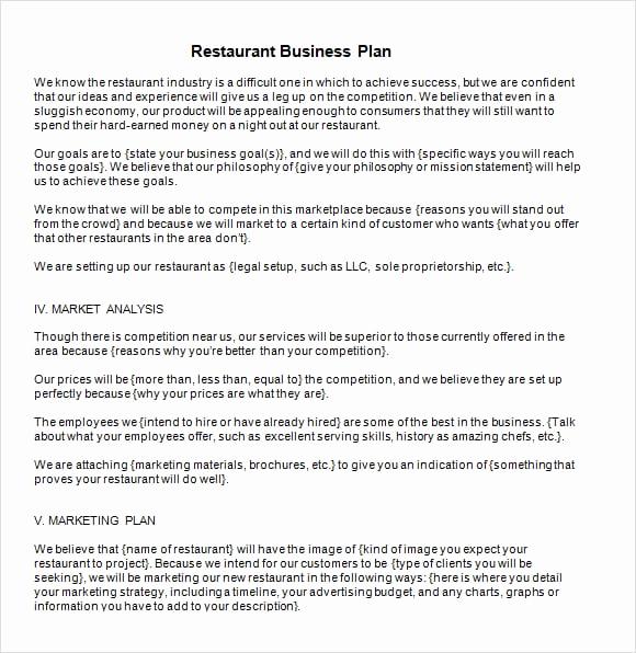Restaurant Business Plan Sample New 6 Restaurant Business Plan Templates Word Excel Pdf