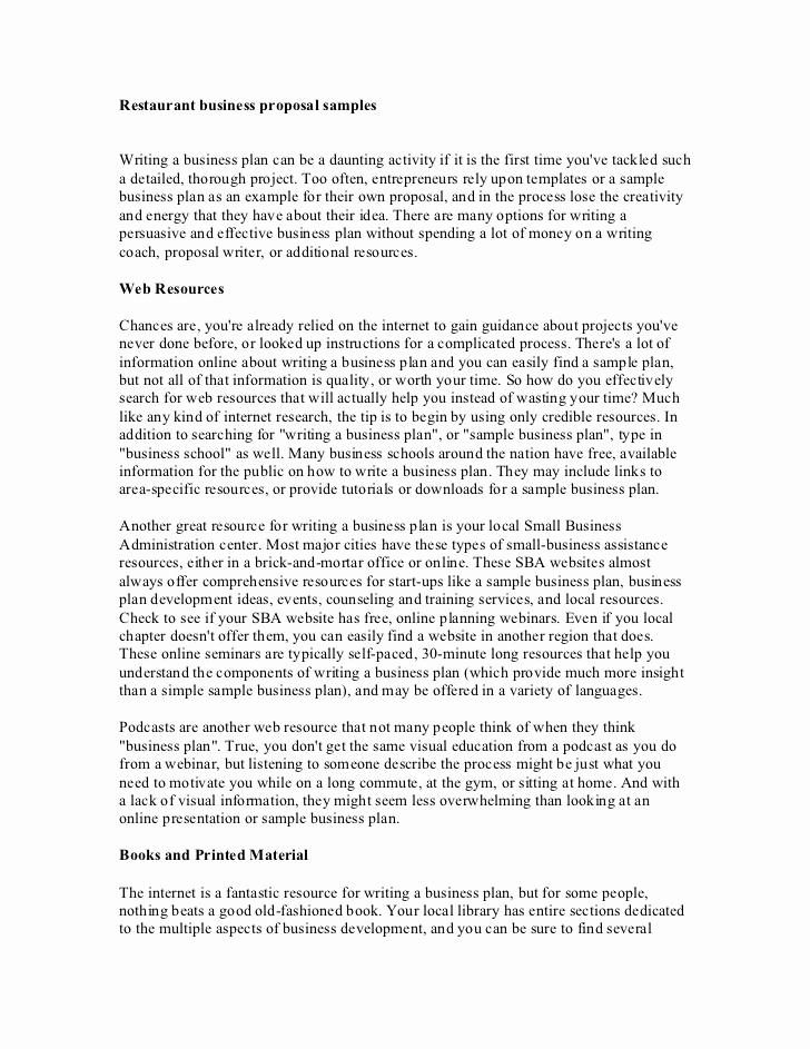 Restaurant Business Plan Sample New Restaurant Business Proposal Samples