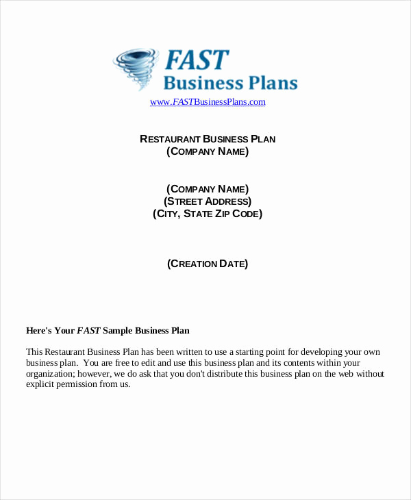 Restaurant Business Plan Sample Unique 40 Plan Samples & Templates In Pdf