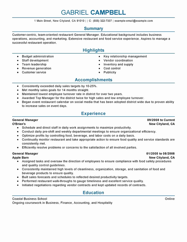 Restaurant General Manager Resume Awesome Restaurant General Manager Resume Examples Free to Try