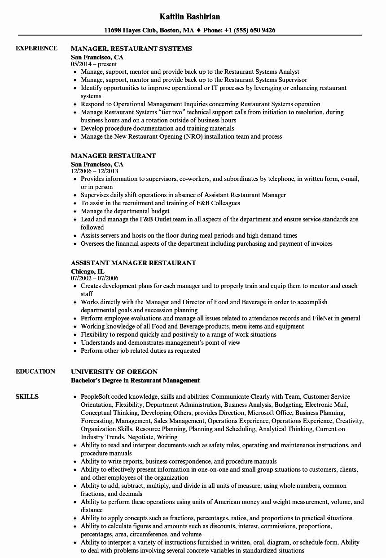 Restaurant General Manager Resume Best Of Manager Restaurant Resume Samples