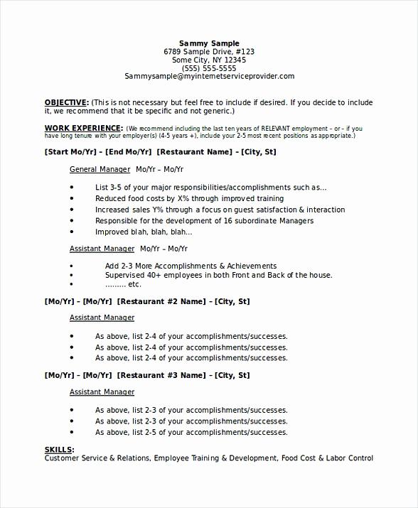 Restaurant General Manager Resume Lovely Restaurant Manager Resume