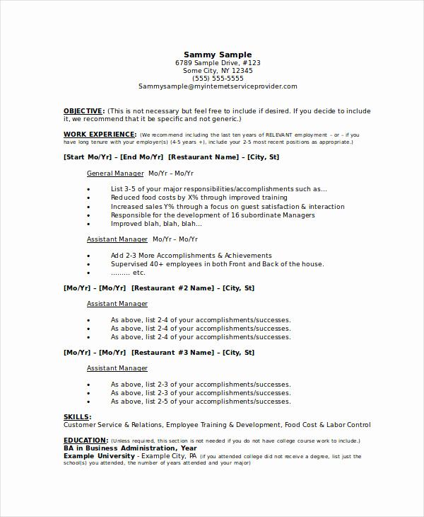 Restaurant General Manager Resume Unique Manager Resume Sample Templates 43 Free Word Pdf