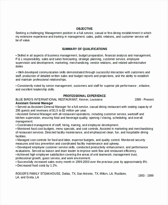 Restaurant General Manager Resumes Awesome Professional Manager Resume