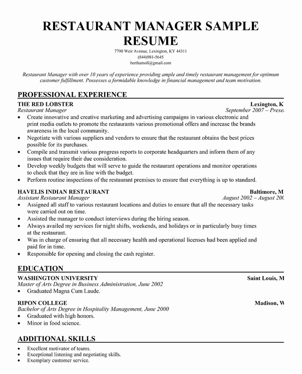 Restaurant General Manager Resumes Beautiful Restaurant Manager Resume Template