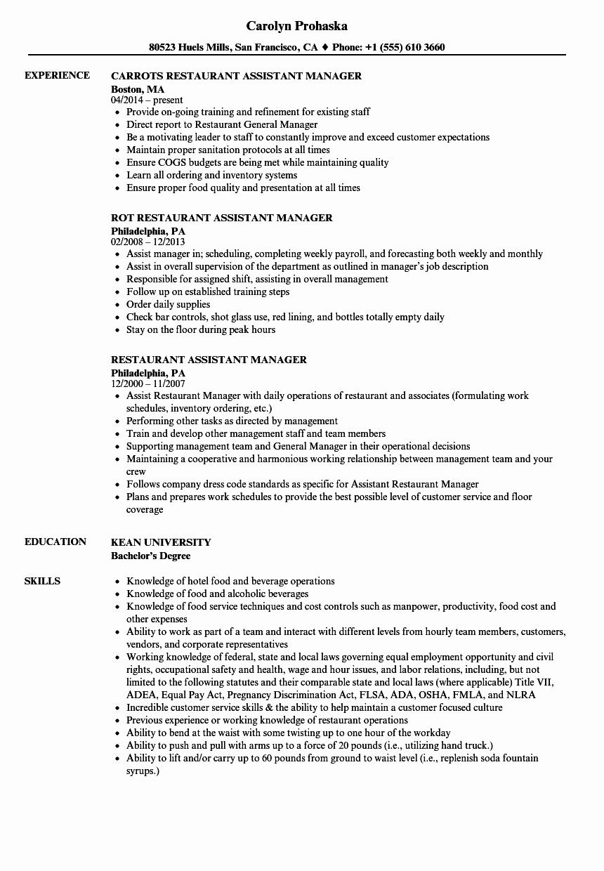 Restaurant General Manager Resumes Fresh Restaurant assistant Manager Resume Samples