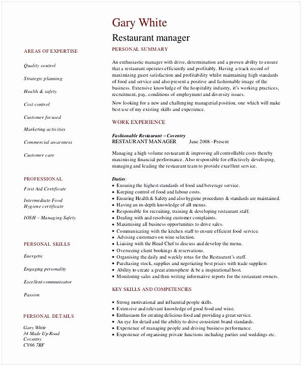 Restaurant General Manager Resumes Fresh Restaurant Manager Resume Template