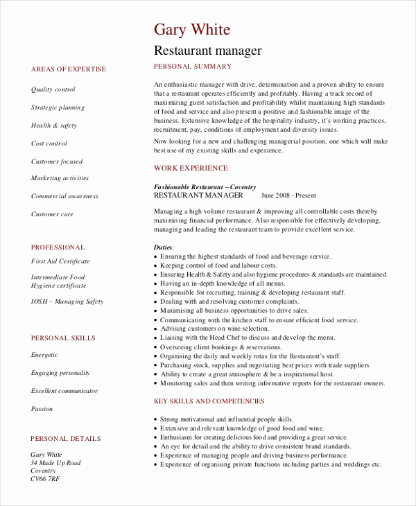 Restaurant General Manager Resumes Lovely Restaurant Manager Resume Template 6 Free Word Pdf