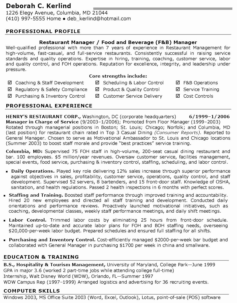 Restaurant General Manager Resumes Luxury 15 Expert General Manager Resume Gg A – Resume Samples