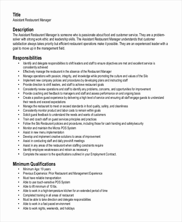 Restaurant General Manager Resumes Luxury Restaurant Manager Resume Template 6 Free Word Pdf