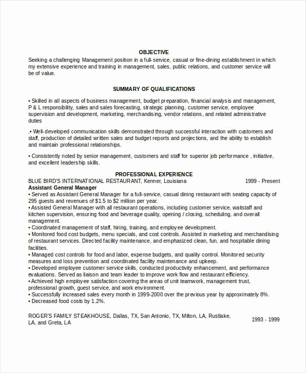 Restaurant General Manager Resumes New 52 Professional Manager Resumes Pdf Doc