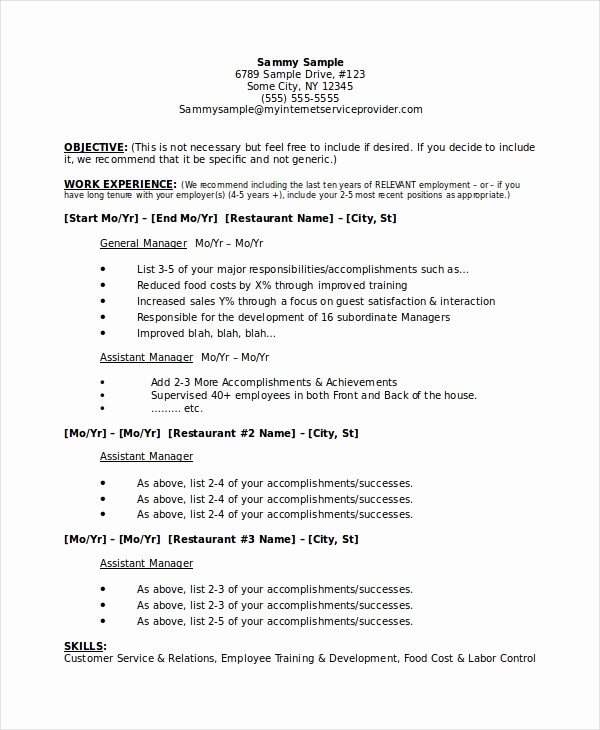 Restaurant General Manager Resumes New Restaurant Manager Resume Template 6 Free Word Pdf