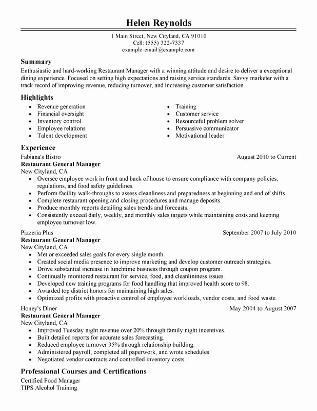 Restaurant General Manager Resumes Unique Restaurant Manager Resume Examples Created by Pros