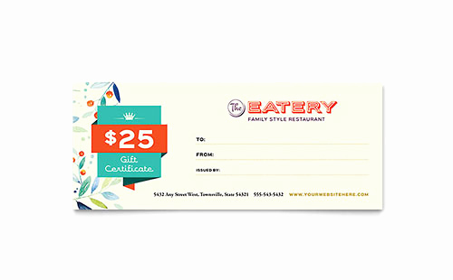 Restaurant Gift Certificate Template Best Of Free Gift Certificate Templates