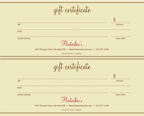 Restaurant Gift Certificate Template Elegant 10 Restaurant Gift Certificate Templates Doc Psd Eps