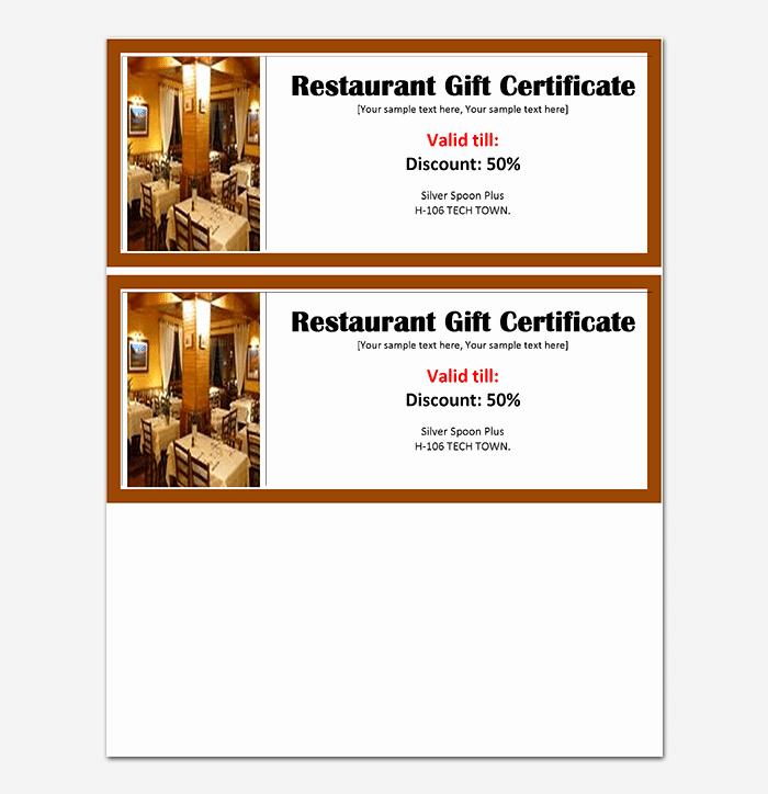 Restaurant Gift Certificate Template Fresh 44 Free Printable Gift Certificate Templates for Word & Pdf