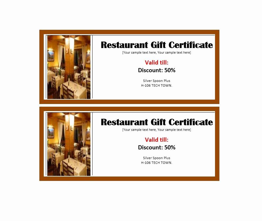 Restaurant Gift Certificate Template Fresh Certificate Templates