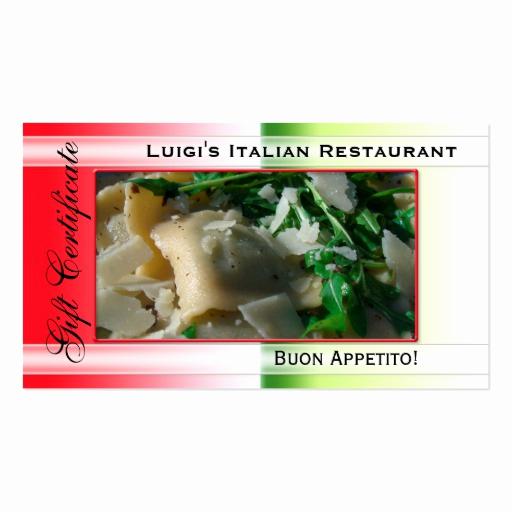 Restaurant Gift Certificate Template Fresh Italian Restaurant Gift Certificate Template Business Card