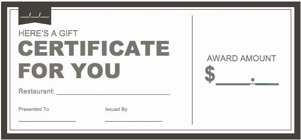 Restaurant Gift Certificate Template Luxury Certificate Downloads Free