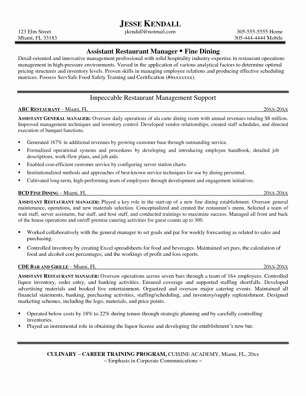 Restaurant Manager Resume Examples Beautiful Talenttube Blog