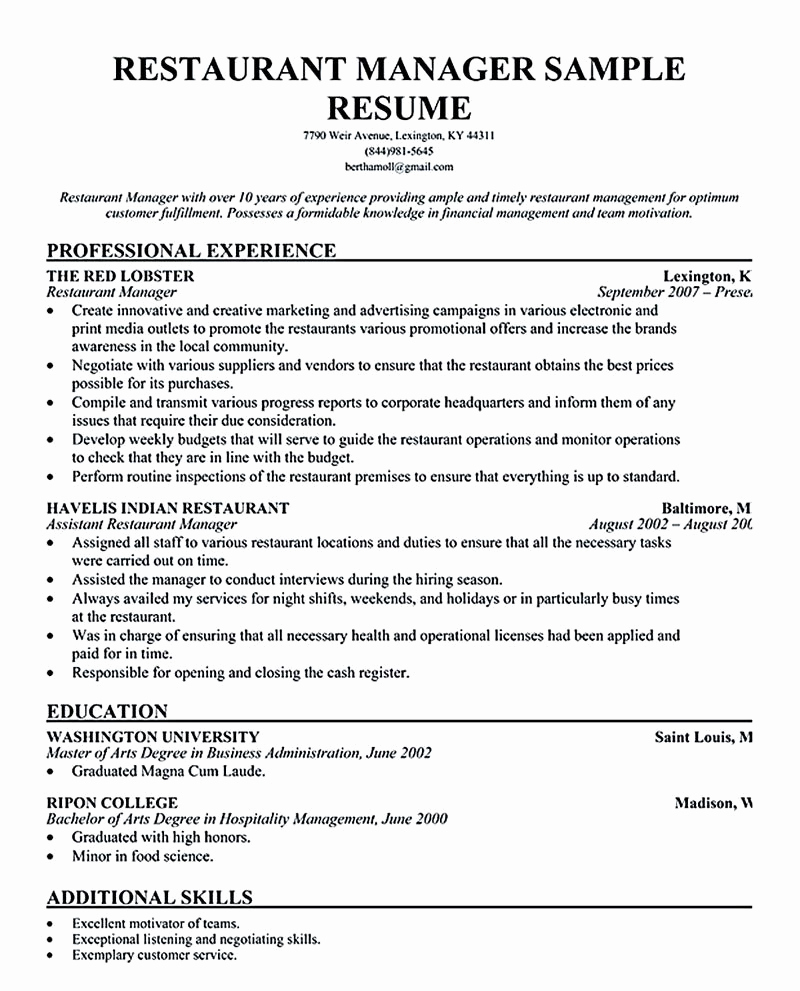 Restaurant Manager Resume Examples Best Of Restaurant Manager Resume Will Ease Anyone who is Seeking
