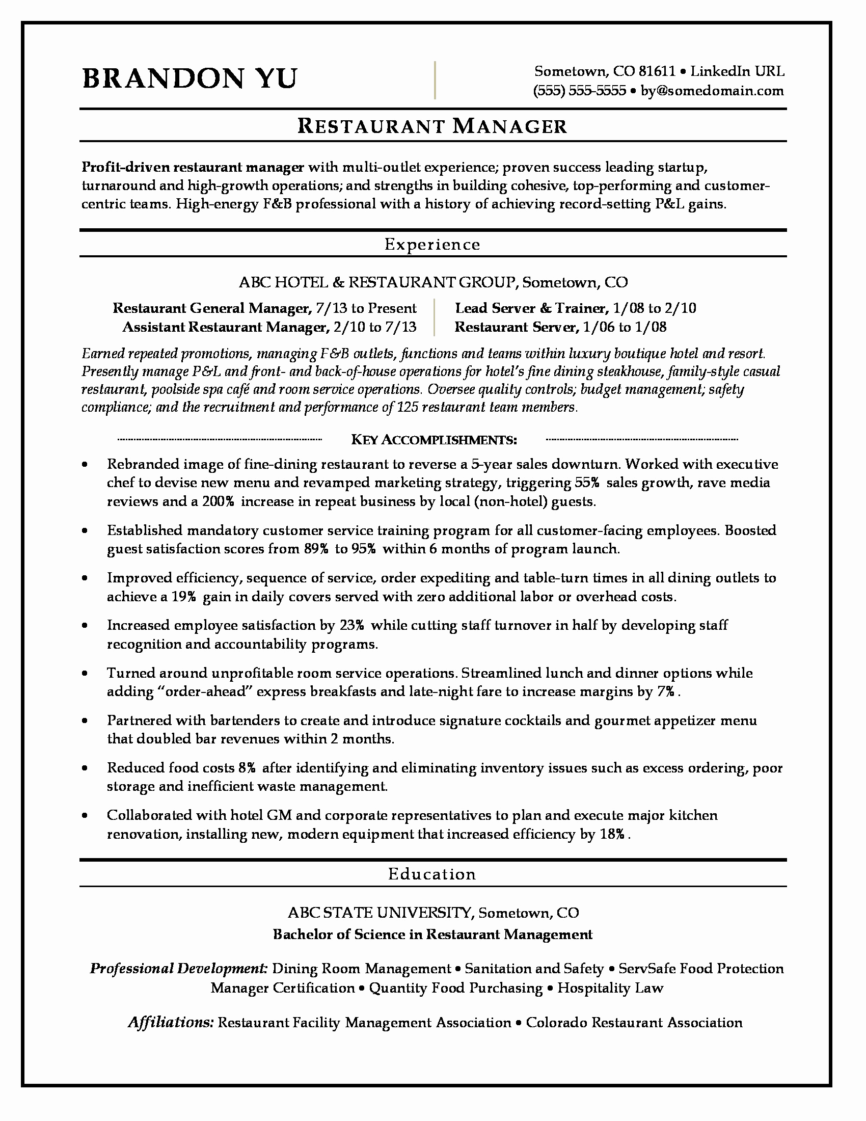 Restaurant Manager Resume Examples Elegant Restaurant Manager Resume Sample